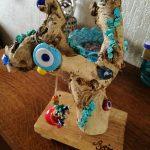 Fantazi ağac, mavi, kısmen doğal taşlı